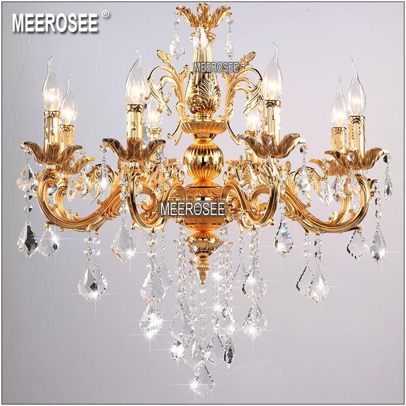Clássico de Prata de Ouro Claro Lustre de Cristal Pendurado Lâmpada para Foyer do Candelabro de Cristal Luminária MD8861 Lobby Do Hotel Do Projeto