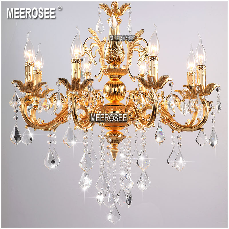 Classique argent or clair cristal Lustre luminaire cristal Lustre suspension lampe pour hall d'entrée hôtel projet MD8861