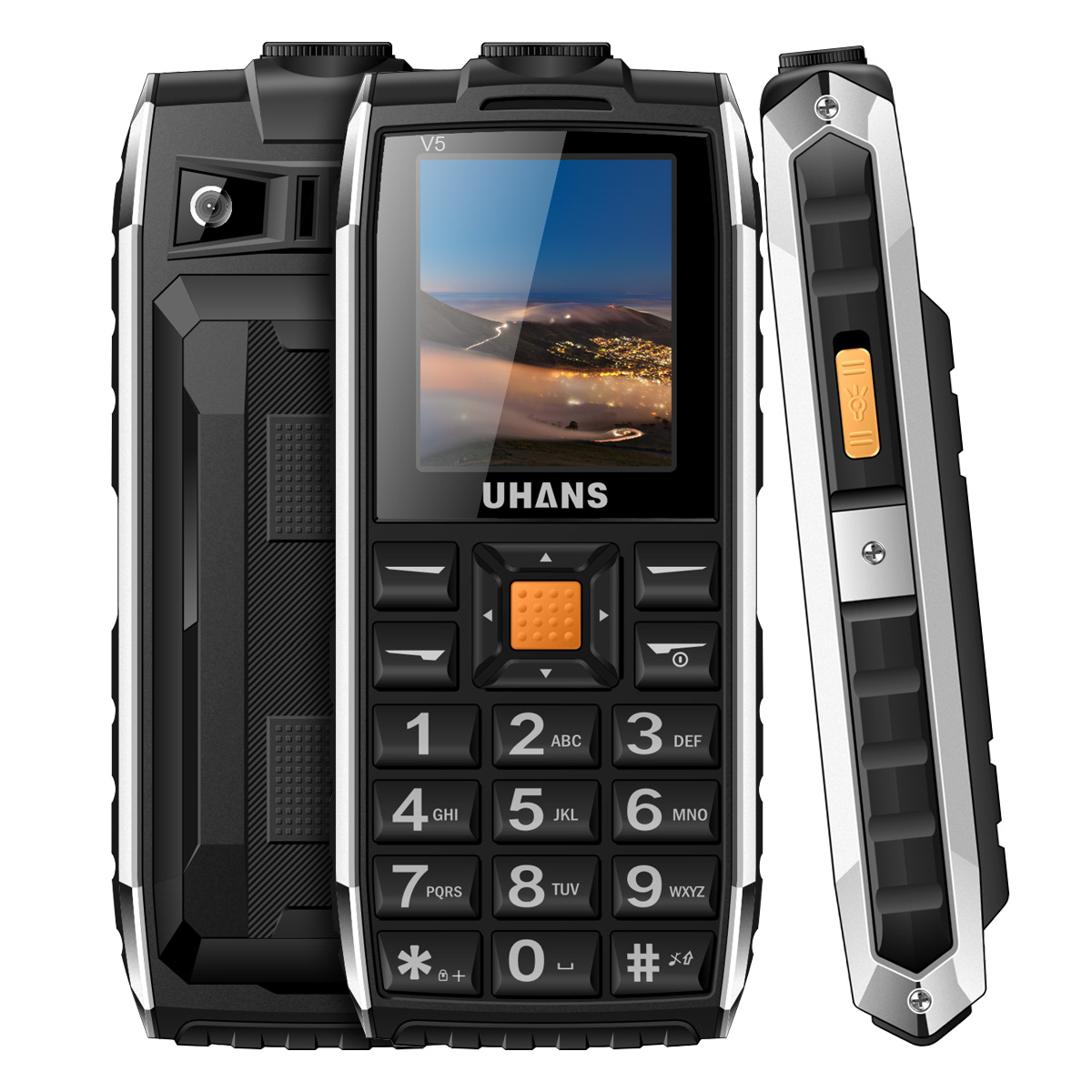 Original V5 Elder mobile Phone 1 7 Waterproof Shockproof Long standby Big BOX Speaker 2500mah