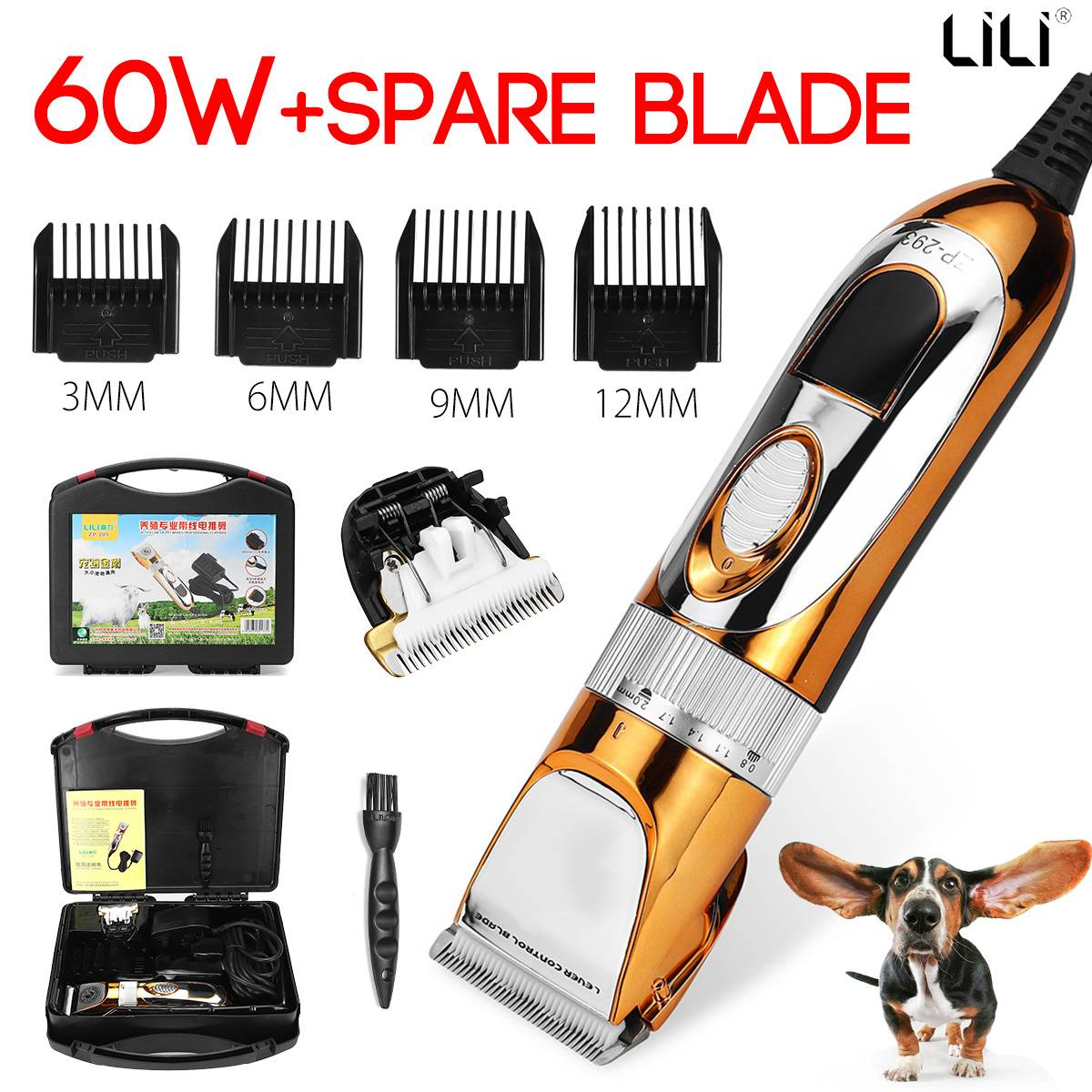 Professional Pet Clipper Scissors Dog Cattle Rabbits Shaver 60W High Power Horse Grooming Electric Hair Trimmer