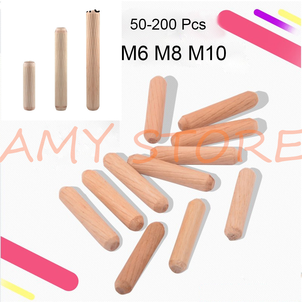 50-200 Pcs Wooden  Furniture Fitting Dowel Cabinet Drawer Round Fluted Wood Craft Dowel Pins Rods Set M6 M8 M10