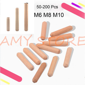 50-200Pcs Wooden Furniture Fitting Dowel Cabinet Drawer Round Fluted Wood Craft Dowel Pins Rods Set M6 M8 M10(China)