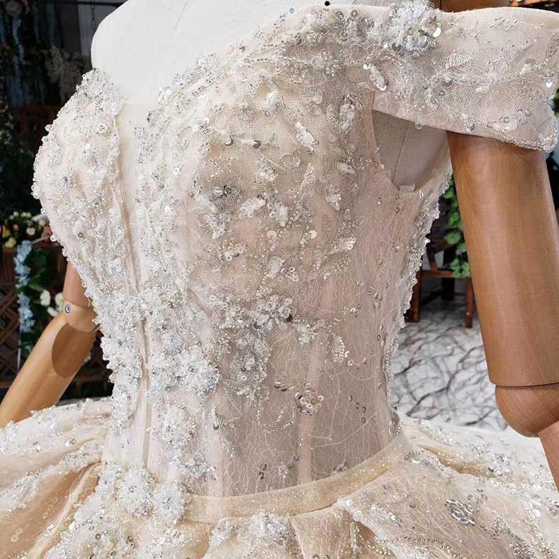 HTL512 robe de mariée princesse avec train jupe multicouche hors de l'épaule robe de mariée vintage 2019 vestido de noiva princesa