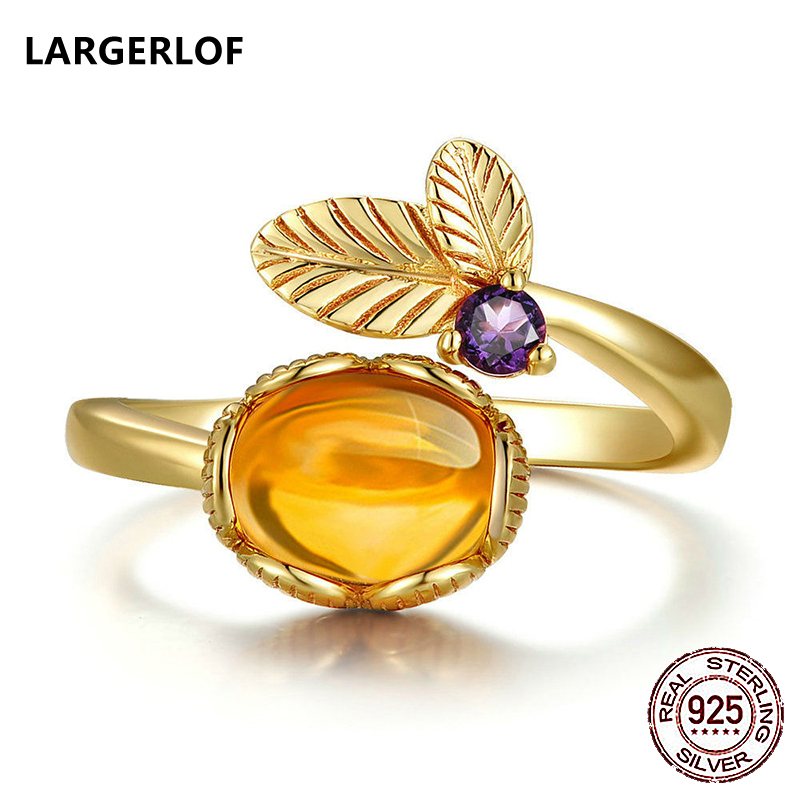 LARGERLOF 925 Sterling Silver Ring Citrine Rings Women Fine Jewelry Flower Rings 925 silver Jewelry JZ47009 largerlof 925 silver ring women handmade fine jewelry silver 925 jewelry ring silver 925 jz12077