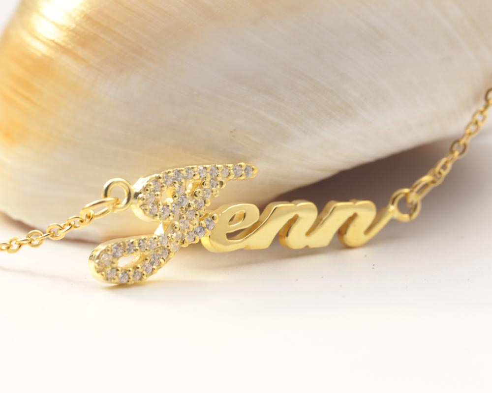 Argent massif plaqué or nom personnalisé avec collier en cristal personnalisé plaque signalétique pendentif bijoux beauté cadeau de mariage