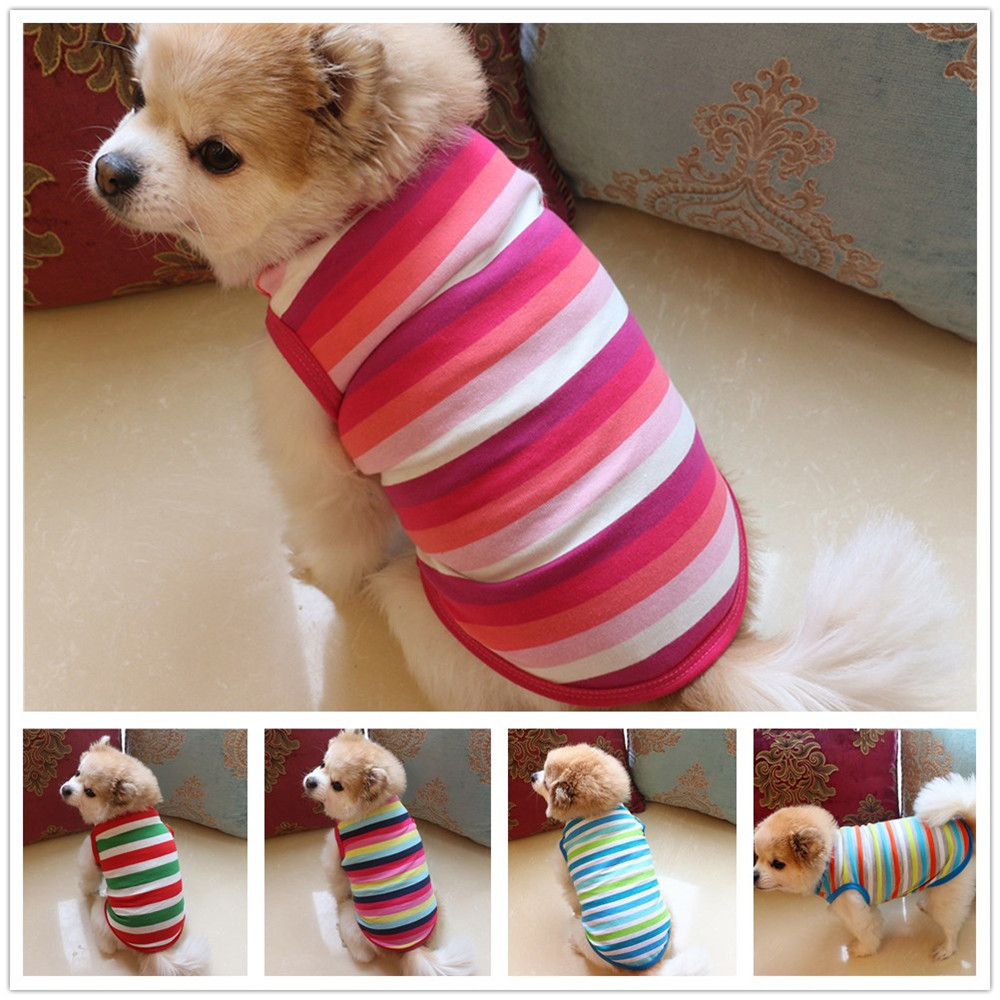 Ishowtienda Pet Dog Clothing Cotton Stripe Vest Puppy Costume Soft
