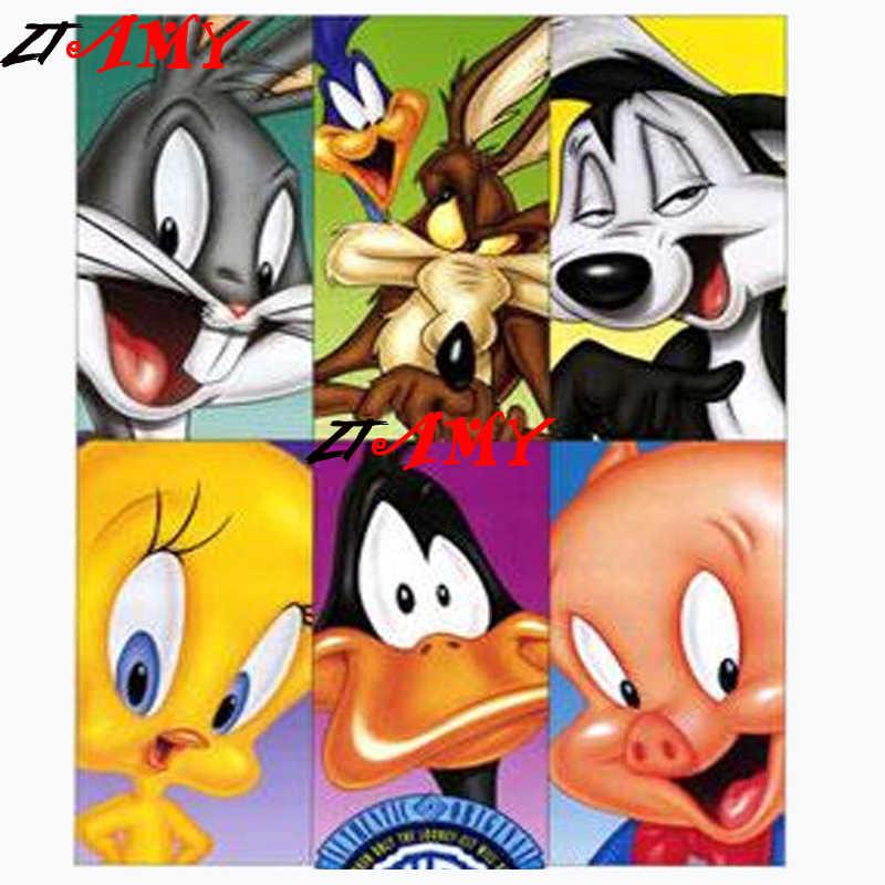 Looney Tunes Diy Diamond Embroidery Cartoon Full Square Round Tweety Bird Diamond Mosaic Diamonds Painting Kits Diamond Paint Aliexpress