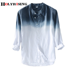 Holyrising 男性リネンシャツ新夏男性のリネンシャツ男性ブランドシャツメンズグラデーションブルーシャツ男性カジュアル 18814  5