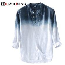 Holyrising ผู้ชายผ้าลินินฤดูร้อนใหม่ผู้ชายผ้าลินินเสื้อผู้ชายเสื้อ mens gradient blue เสื้อชาย 18814 5
