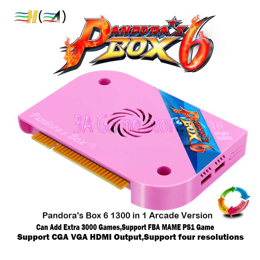 Pandora's Box 6 Arcade jamma board 1300 in 1 support FBA MAME PS1 game can extra 3000 games support 3d game tekken mortal kombat 1300 in 1 pandora box 6 jamma board hdmi vga cga for arcade machine can add extra 3000 games support fba mame ps1 game 3d game
