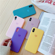 Candy Color Love Heart phone case for iphone XS Max XR For 6 6s 7 8 plus Matte soft silicon tpu cover