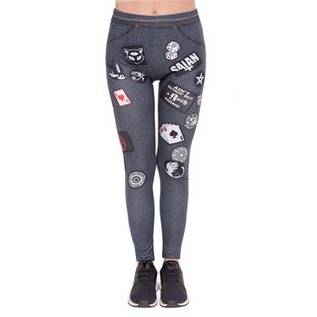 Fashion leggins mujer Dark Grey Jeans Printing legging sexy feminina leggins fitness Woman Pants workout leggings image