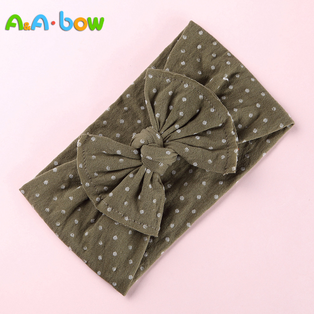 1PCS New Baby Dot Width Nylon Headbands,two sew line bow headband, Knot Nylon   Headwear   Turban, Girls Hair Accesseries