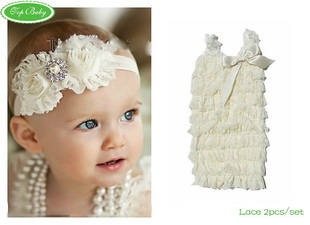Free Shipping(3 sets/lot)TOP BABY Lace Spaghetti Strap Baby Romper Tube Top Baby Romper With Headband Baby 2-pieces 3445
