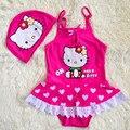 2016 nuevas muchachas lindas del verano traje de baño los niños les encanta el patrón de hello kitty traje de baño + sombrero infantil de la muchacha traje de Baño para niños 2-6 años