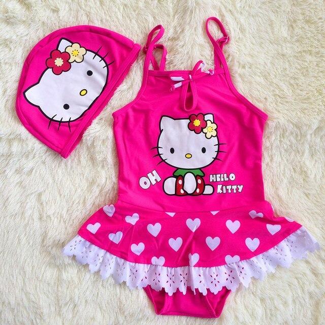 10093b55ce New Summer Cute Baby Girls Swimsuit Kids Love Pattern Hello Kitty Swimwear  + Hat Cap Infant Girl Bathing Suit for Kids 2-6 years