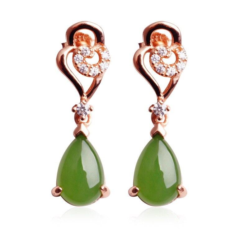 Certificat de bijoux avec boîte-cadeau boucles d'oreilles en Jade vert naturel pour femmes bijoux en goutte d'or Rose