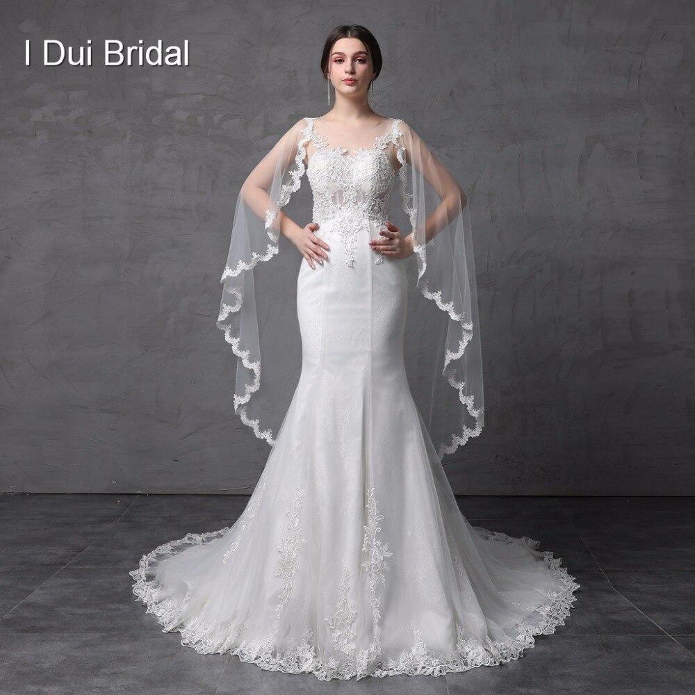 Corset Illusion voir à travers le dos robes de mariée sirène avec écharpe en dentelle perlée usine de haute qualité Photo réelle sur mesure