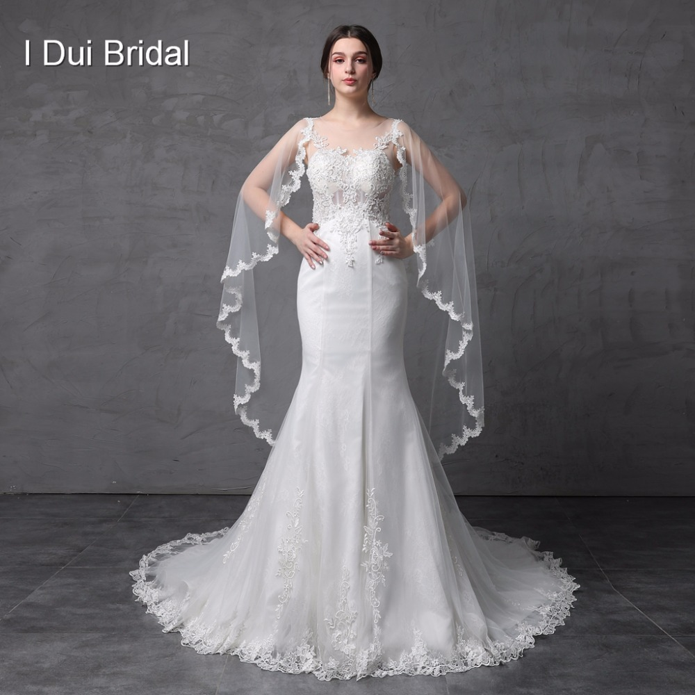⑤Illusion Corset See Through Back Mermaid Wedding Dresses With Lace ...