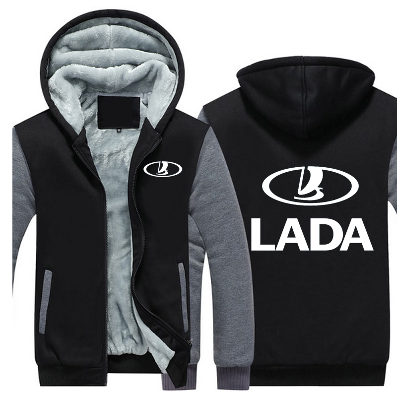 2018 Lada Car Logo Autumn and Winter Coat and Cashmere Hoodie Mens Cotton-Padded Jacket Thick Warm Coat Men Fleece Sweatshirts ...