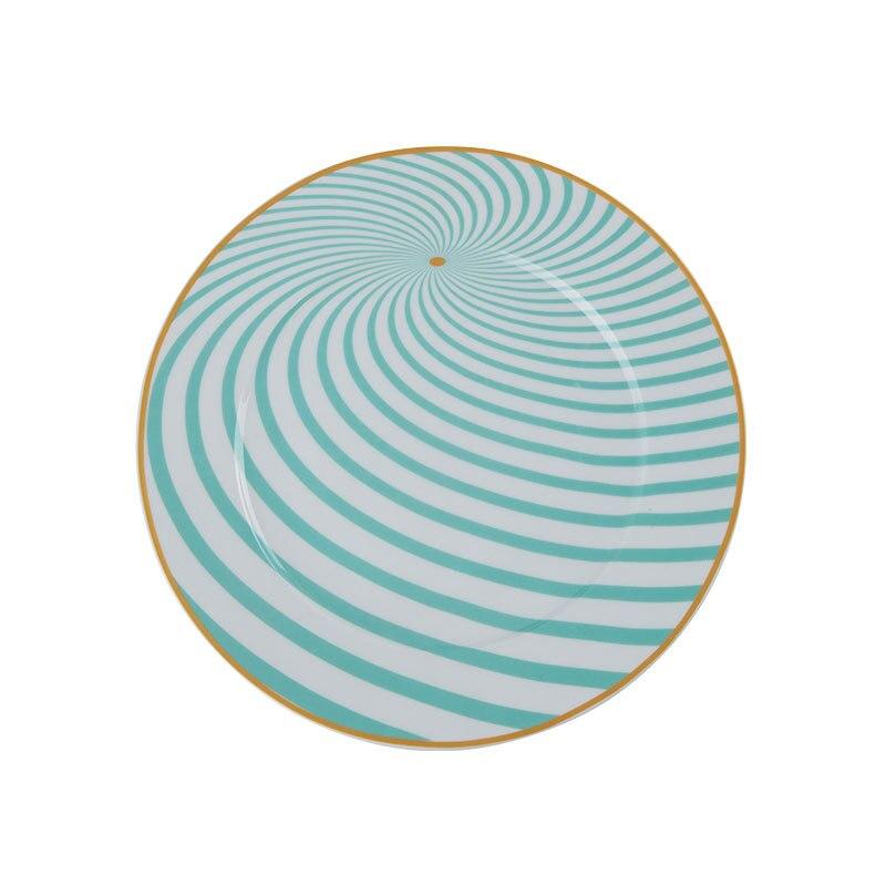 Vaisselle à géométrie colorée 8/10 pouces | Vaisselle 4 pièces, Phnom Penh assiette à dîner en céramique, assiette à Dessert en porcelaine, assiette à gâteau - 5