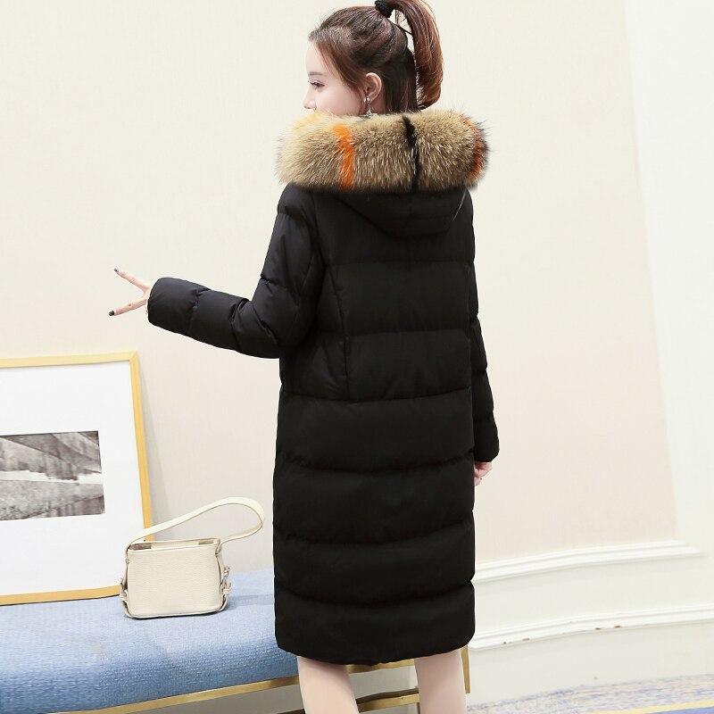 Классическая Длина Хлопковое платье 2018 Новинка зимы большой код Корейская версия Тонкий Lian Hat утолщенной перо вниз пальто хлопка куртки
