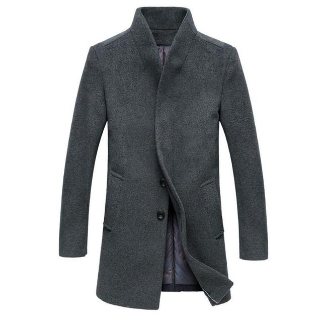 Chaqueta Hombre Outono Homens Casaco de Inverno Longa Seção De Lã Sólida casaco Estande Ocasional Gola do Casaco de Lã Dos Homens 5 Cores Mais tamanho