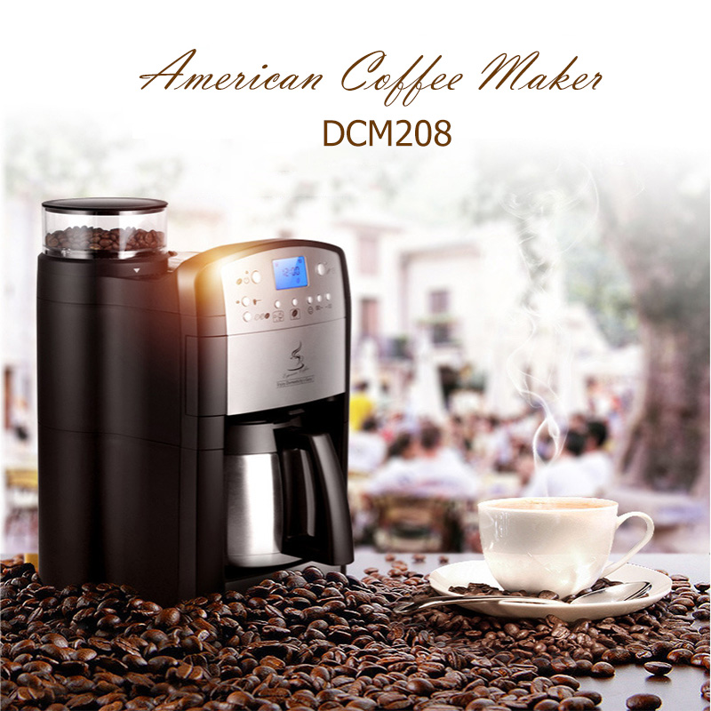 DCM208 Fully Automatic Household Coffee Machine Germany Imported Automatic Grinding Coffee Maker Smart Appointment household fully automatic coffee maker cup portable mini burr coffee makers cup usb rechargeable capsule coffee machine