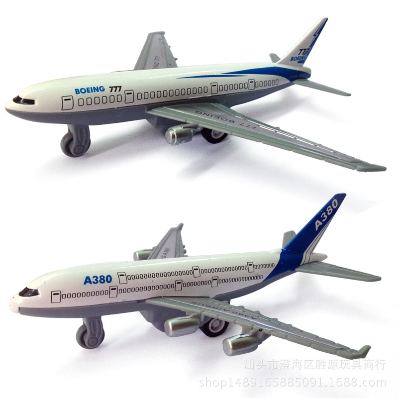 1:64 Alloy model Metal Material aircraft Airbus A380 Boeing 777 kids toys Back to power Decoration worth collecting image