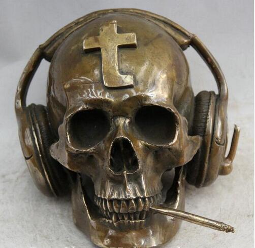 10 ''chinois pur Bronze Art fumée Cigarette écouter casque tête de crâne Statue