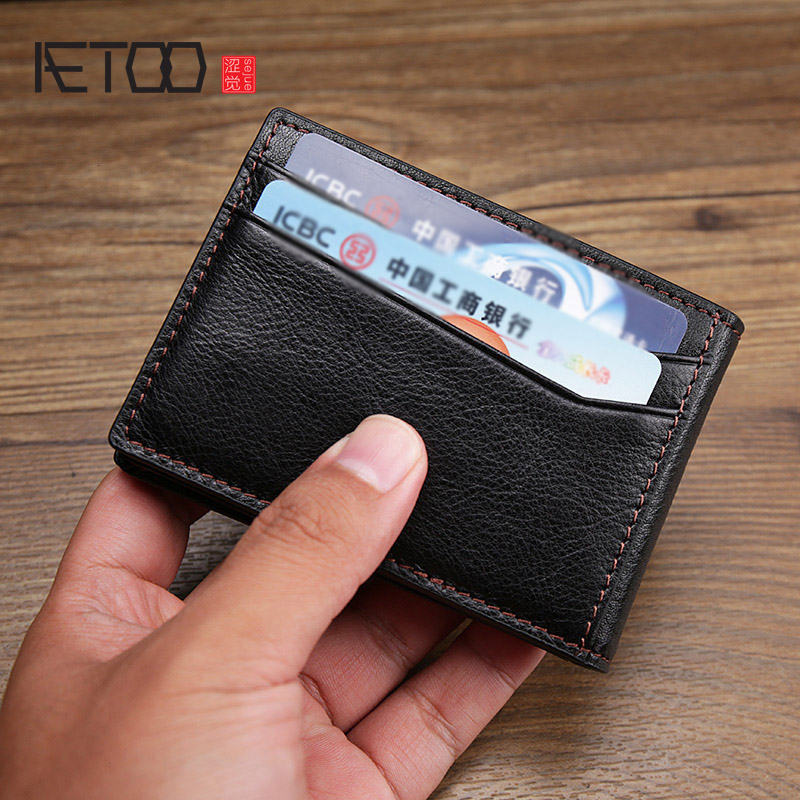 AETOO Men's Leather Multifunctional card pack Retro driver's license leather cover