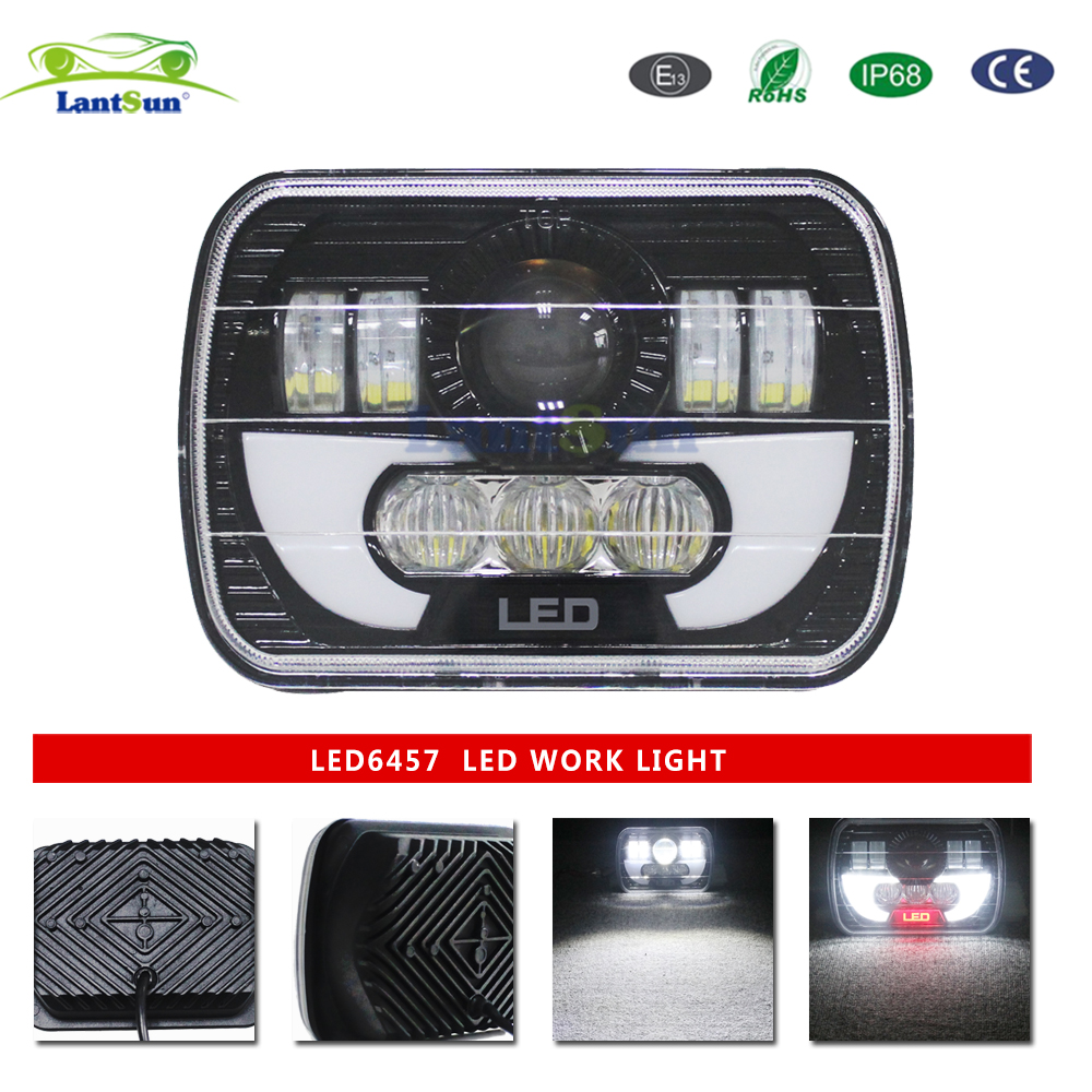 Pair lantsun LED6457 5x7 6X7 Inch 90W Projector LED Sealed Beam Headlight Assembly With Angel Eyes DRL For Jeep Wrangler YJ