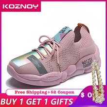 Koznoy Casual Sneakers Women Canvas Shoes 2019 Autumn Summer Breathable Mesh Female Agan