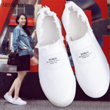 ARSMUNDI Canvas shoes women solid slip-on white sneakers wear-resistant comfortable casual chaussures femme M485