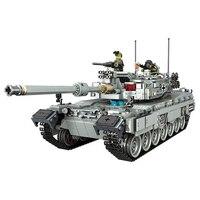 Military Equipment Tank Building Block tank Model War Series Leopard 2 Tank playmobil Assembled Brick toys for children oyuncak
