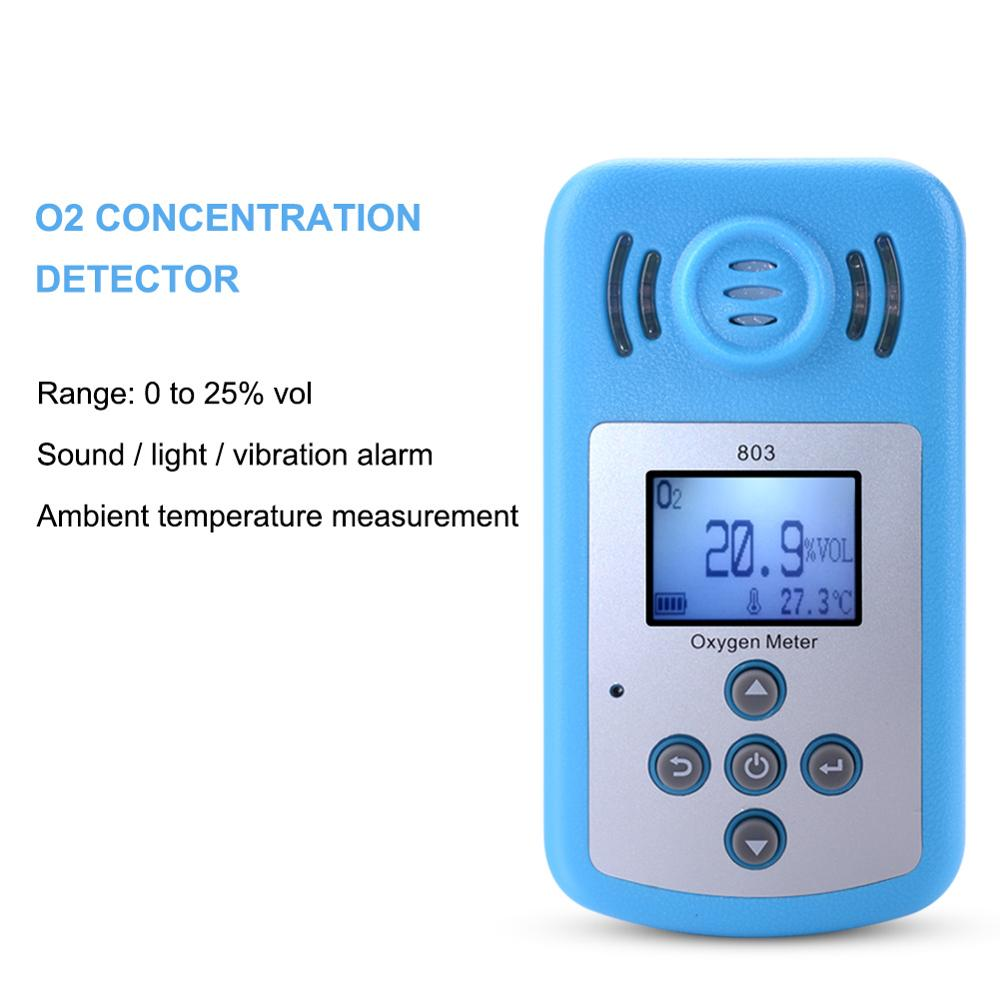 yieryi Oxygen Meter Digital Meter Portable Oxygen O2 Concentration Detector with LCD Display and Sound light