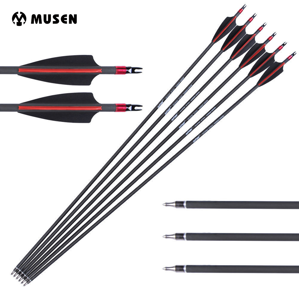 "31"" Spine 340 Carbon Arrows with 2 Black and 1 Red Turkey Feather for Compoundbow and Recurve Bow Archery 6/12/24pcs"