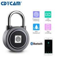 Cdycam Waterproof Keyless portable Bluetooth smart Fingerprint Lock padlock Anti-Theft iOS Android APP control door cabinet lock