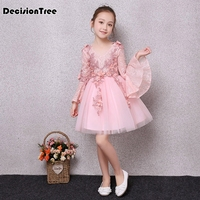 2019 new flower girl princess ruffles flare sleeve tutu kids clothes party dress children prom dresses formal frocks for girl