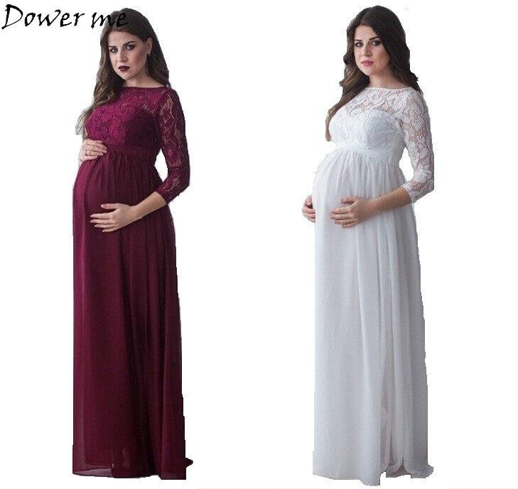 Elegant Maternity Clothes Evening Dress Gravida Maternity Lace ...