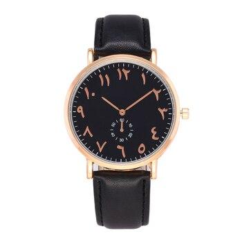 8cfc737f6c3c Moda único árabe números relojes de lujo de las señoras Reloj de cuero  Casual mujeres hombres relojes del cuarzo Reloj Montre Femme Reloj