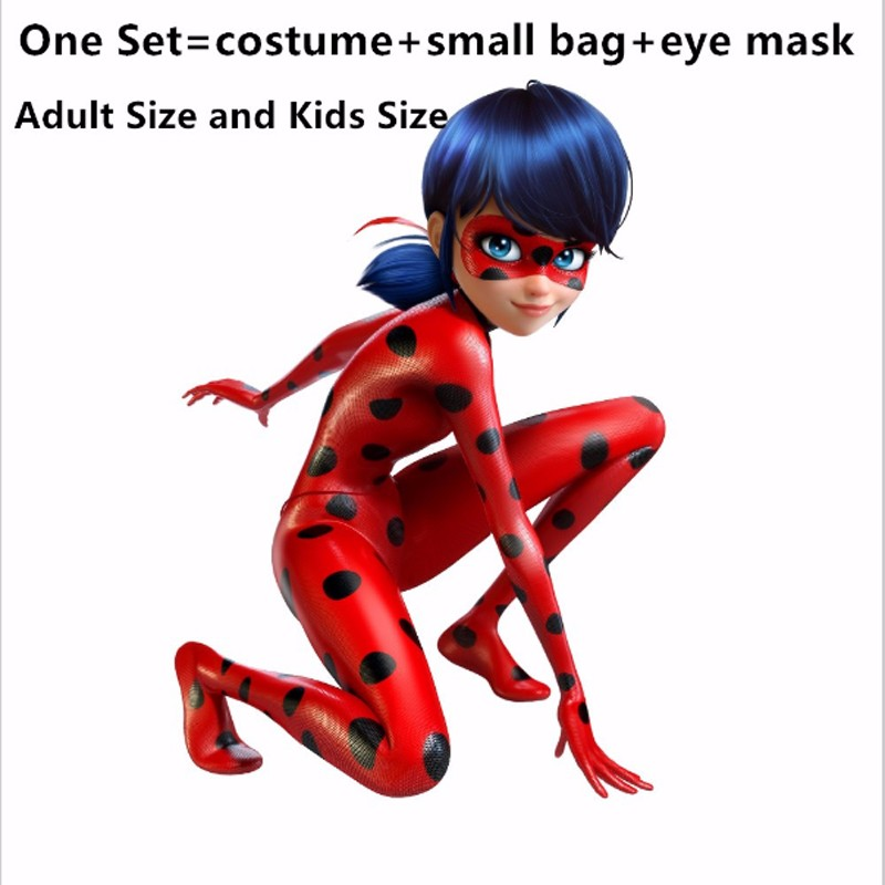 2019 Fantasia Spandex <font><b>Ladybug</b></font> <font><b>Costumes</b></font> <font><b>kids</b></font> Adult cosplay Christmas party bag girls children lady bug Zentai Suit halloween cost image
