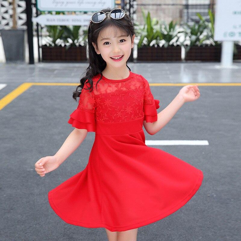 Summer New Product Girl Child Lace Knitting Princess Short Sleeve Dress