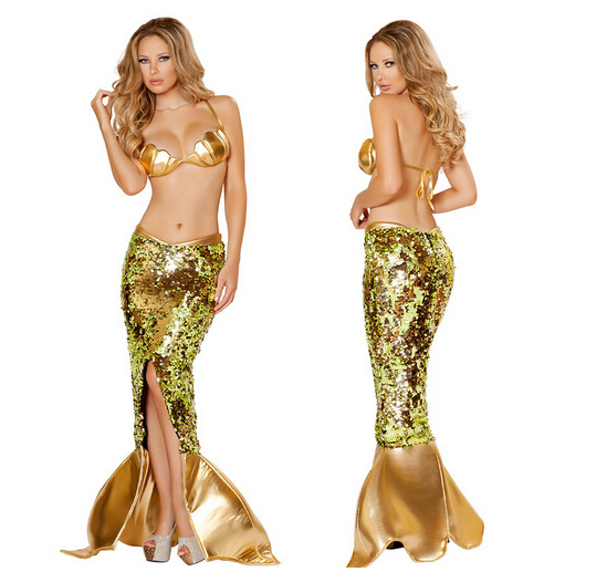 Free shipping S-L skirt+bra  mermaid cosplay hot sellin  glod princess ariel fashion costume  high quality halloween set