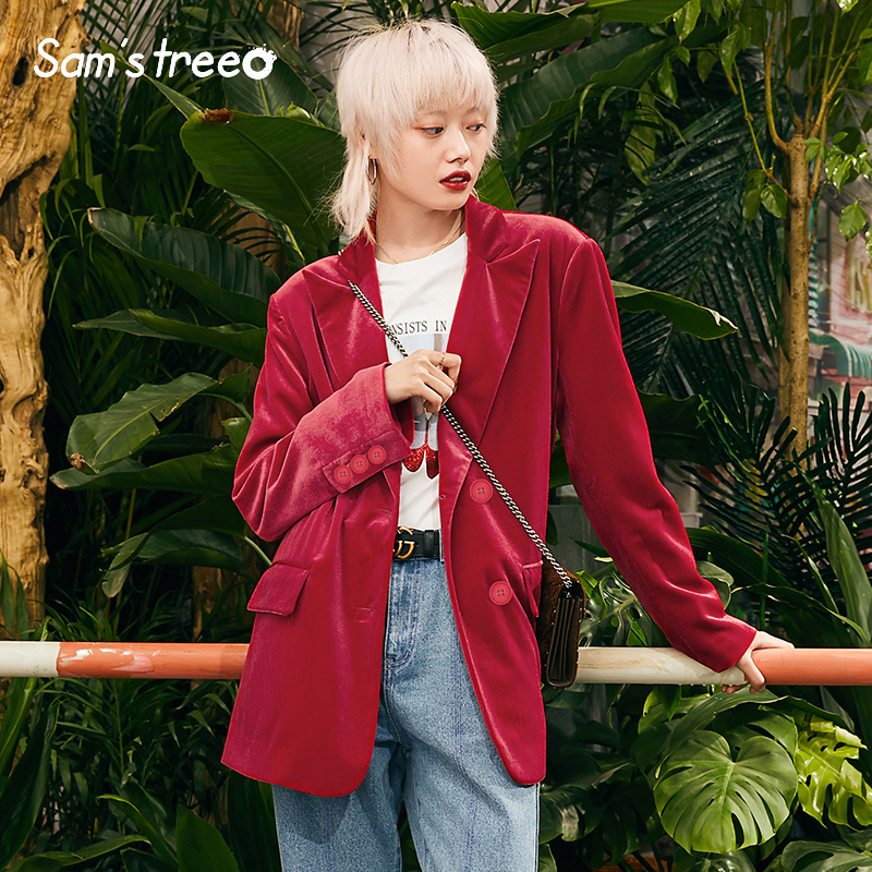 Women Spring Red Velvet Blazers Outerwear Basic Vintage Ladies Office Wear Suits Top Female Loose Popular