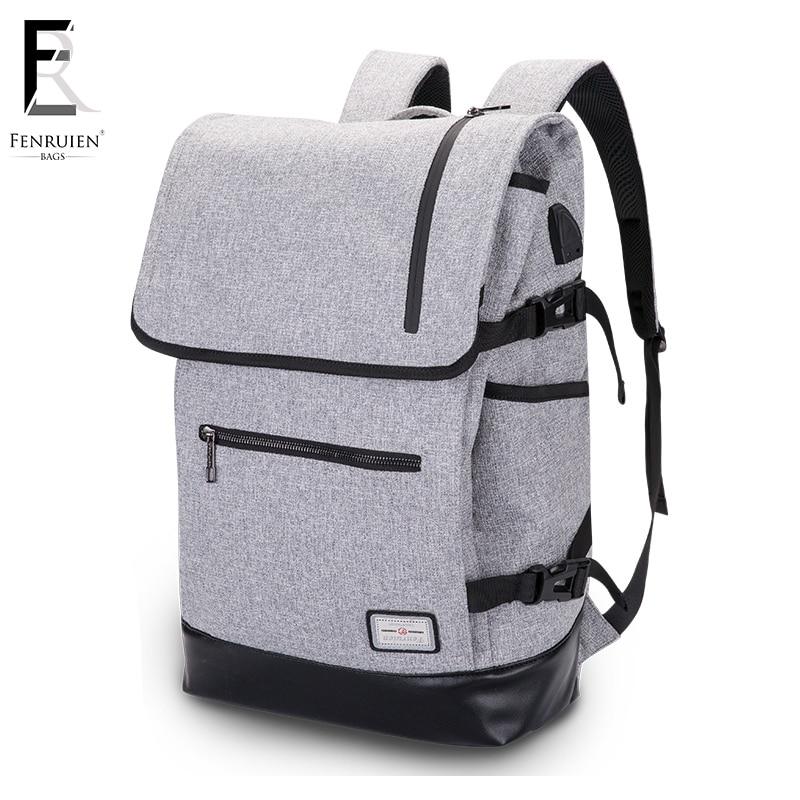 все цены на FRN Men New design USB Charge Computer Bag Anti-theft Notebook Backpack 17 inch Waterproof Laptop Backpack Women School Bag