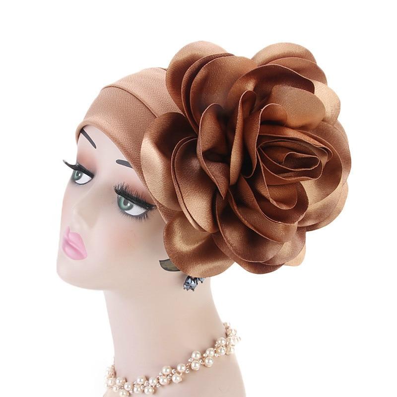 Fashion Big Flower Turban Hat Women Muslim Hijabs Cap India Cap Under Scarf Bone Bonnet Neck Cover Muslim Women Hair Accessories