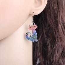 Bonsny Drop Cat Long Earrings Dangle Brand Acrylic Animal Pattern Girls Women Cartoon Multi Fashion Jewelry New Accessories