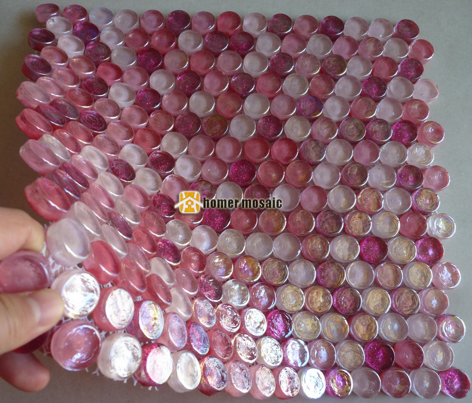 sinfona hmgm1116a mezclado rosa redondo del cristal de cristal azulejos de mosaico backsplash de la cocina