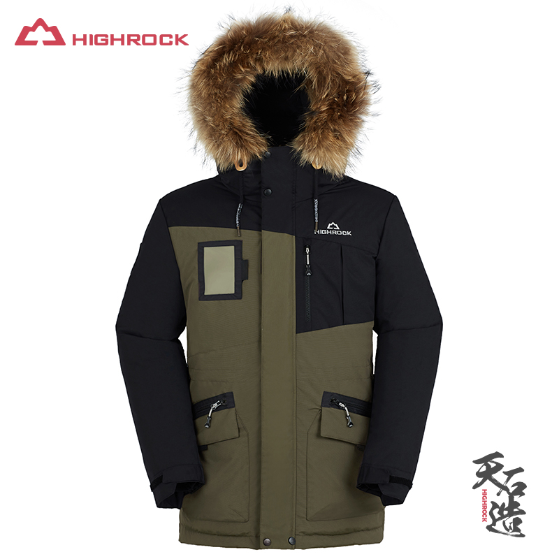 Highrock 2018 New Men Down Coat Winter Goose Down Jacket Long Parka Thicken Raccoon Fur Collar Outdoor Camping Climbing цены онлайн